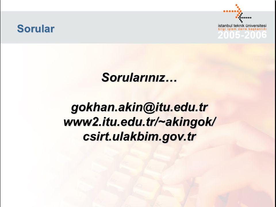 Sorular Sorularınız… gokhan.akin@itu.edu.tr www2.itu.edu.tr/~akingok/ csirt.ulakbim.gov.tr