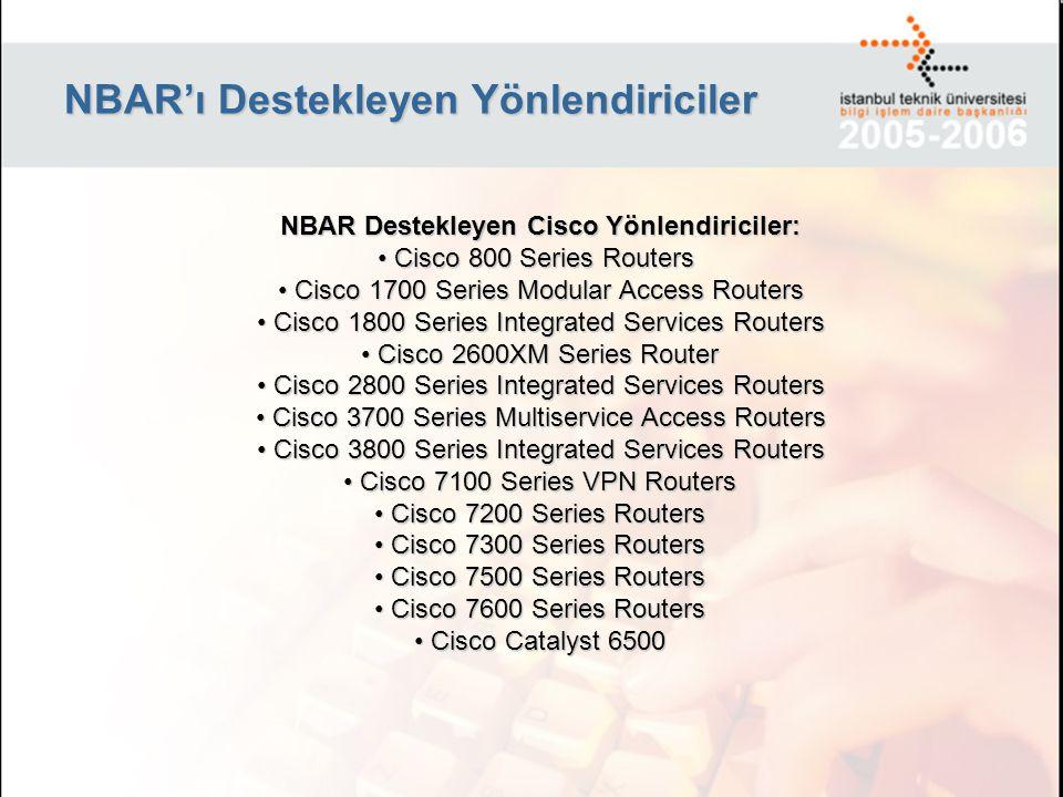 NBAR'ı Destekleyen Yönlendiriciler NBAR Destekleyen Cisco Yönlendiriciler: Cisco 800 Series Routers Cisco 800 Series Routers Cisco 1700 Series Modular