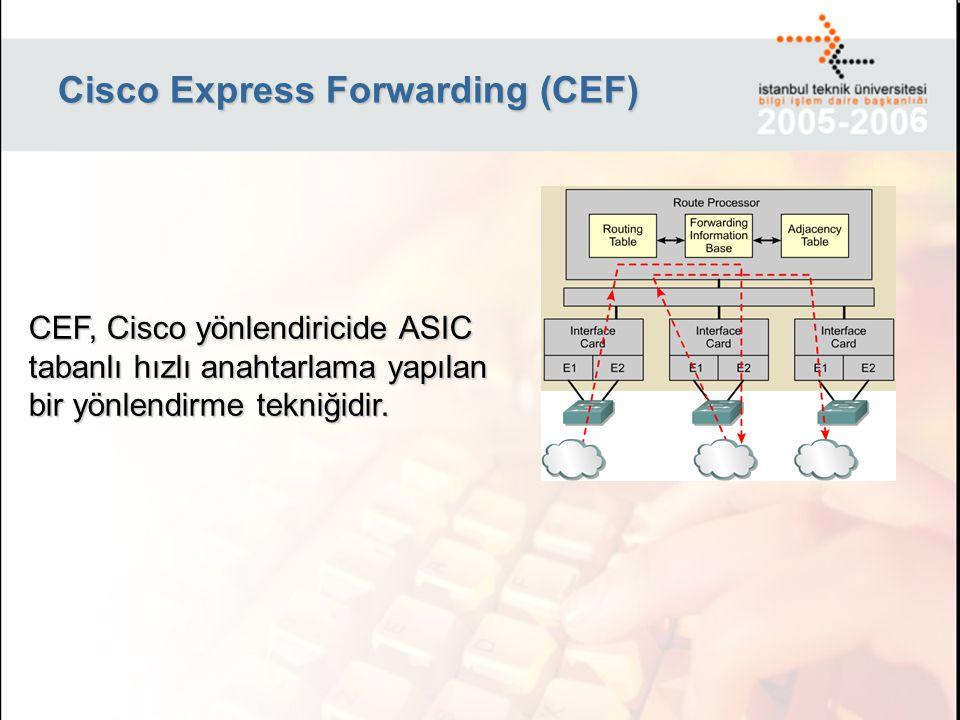 CEF Çalışma Tekniği Forwarding Information Base: Yönlendirme tablosunda elde edilen 4 Katmanlı hiyerarşik bir yapıya sahip,yönlendirme tablosunda bulunan karar verme mekanizmasında kullanılan detaylardan arındırılmış bir tablodur.