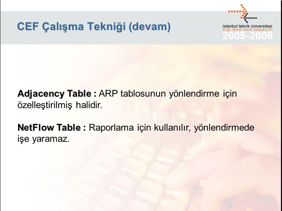 CEF Çalışma Tekniği (devam) Adjacency Table : Adjacency Table : ARP tablosunun yönlendirme için özelleştirilmiş halidir. NetFlow Table : NetFlow Table