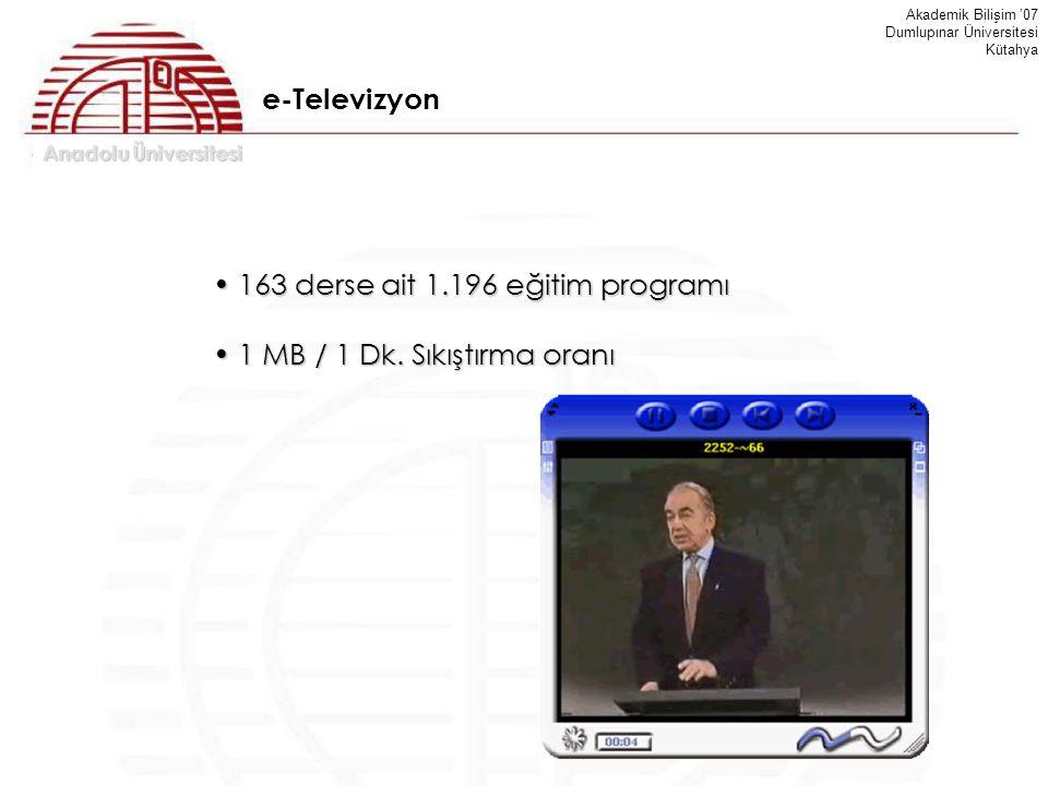 Anadolu Üniversitesi Akademik Bilişim '07 Dumlupınar Üniversitesi Kütahya 163 derse ait 1.196 eğitim programı 163 derse ait 1.196 eğitim programı 1 MB