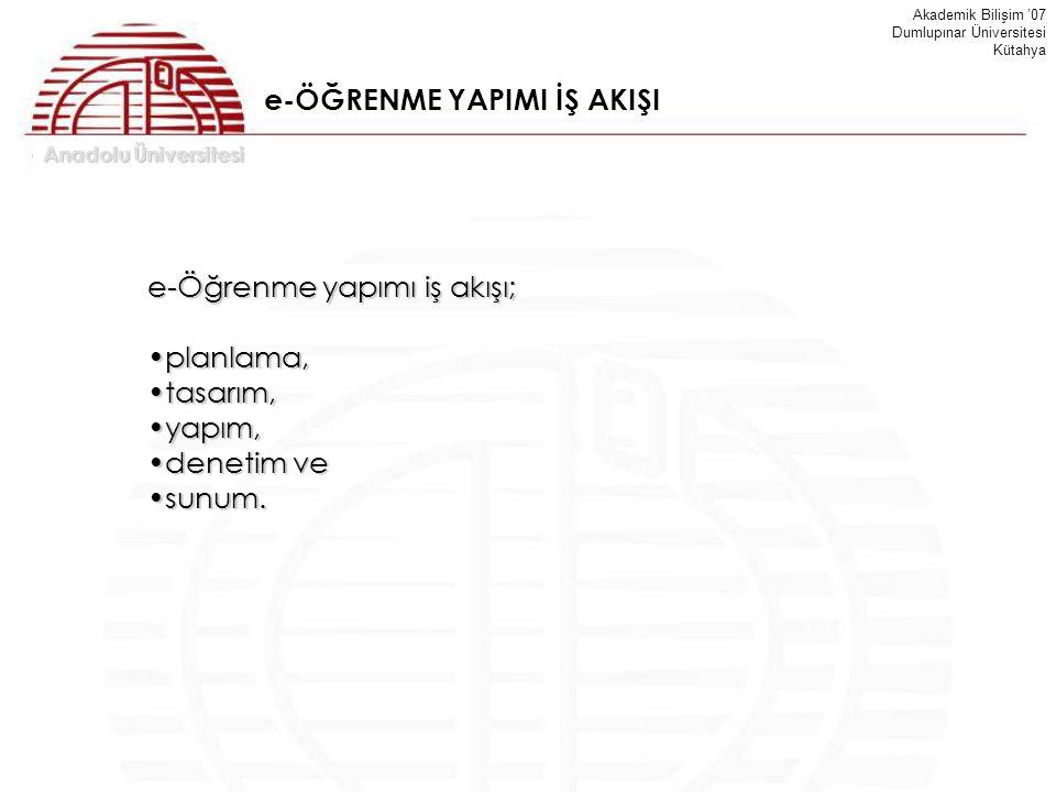 Anadolu Üniversitesi Akademik Bilişim '07 Dumlupınar Üniversitesi Kütahya e-Öğrenme yapımı iş akışı; planlama,planlama, tasarım,tasarım, yapım,yapım,