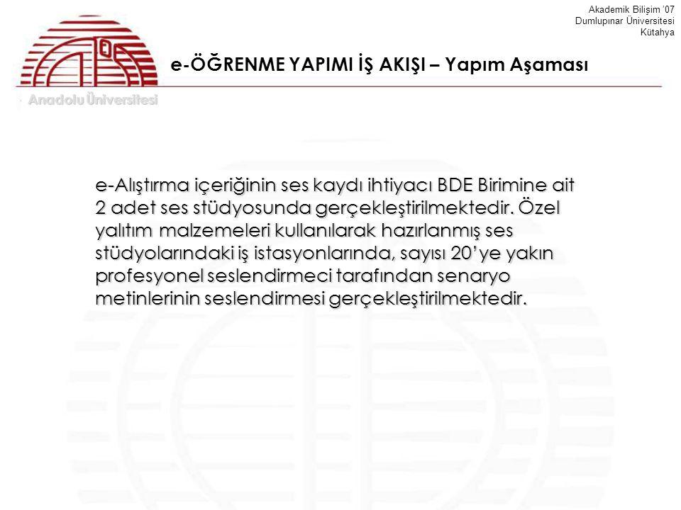Anadolu Üniversitesi Akademik Bilişim '07 Dumlupınar Üniversitesi Kütahya e-ÖĞRENME YAPIMI İŞ AKIŞI – Yapım Aşaması e-Alıştırma içeriğinin ses kaydı i