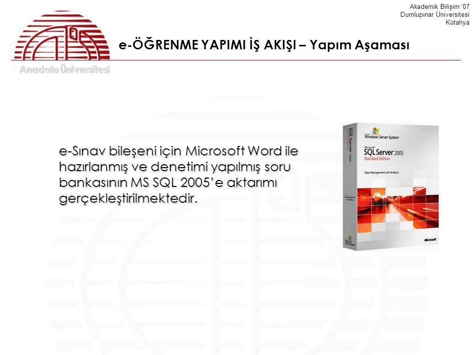 Anadolu Üniversitesi Akademik Bilişim '07 Dumlupınar Üniversitesi Kütahya e-ÖĞRENME YAPIMI İŞ AKIŞI – Yapım Aşaması e-Sınav bileşeni için Microsoft Wo