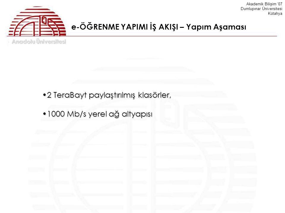 Anadolu Üniversitesi Akademik Bilişim '07 Dumlupınar Üniversitesi Kütahya e-ÖĞRENME YAPIMI İŞ AKIŞI – Yapım Aşaması 2 TeraBayt paylaştırılmış klasörle