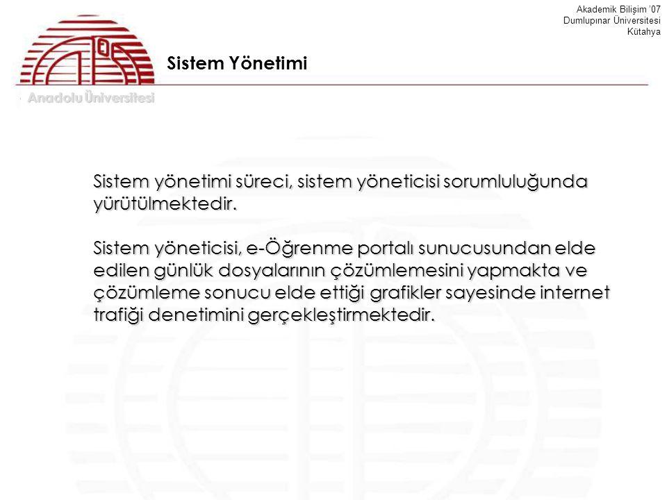 Anadolu Üniversitesi Akademik Bilişim '07 Dumlupınar Üniversitesi Kütahya Sistem Yönetimi Sistem yönetimi süreci, sistem yöneticisi sorumluluğunda yür