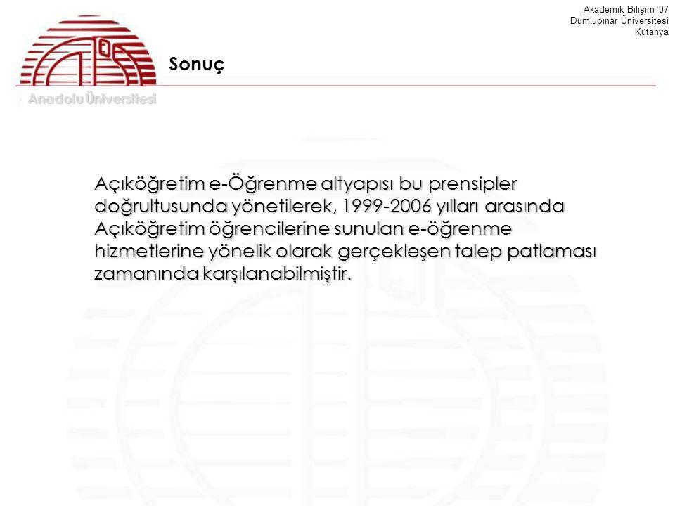 Anadolu Üniversitesi Akademik Bilişim '07 Dumlupınar Üniversitesi Kütahya Sonuç Açıköğretim e-Öğrenme altyapısı bu prensipler doğrultusunda yönetilere
