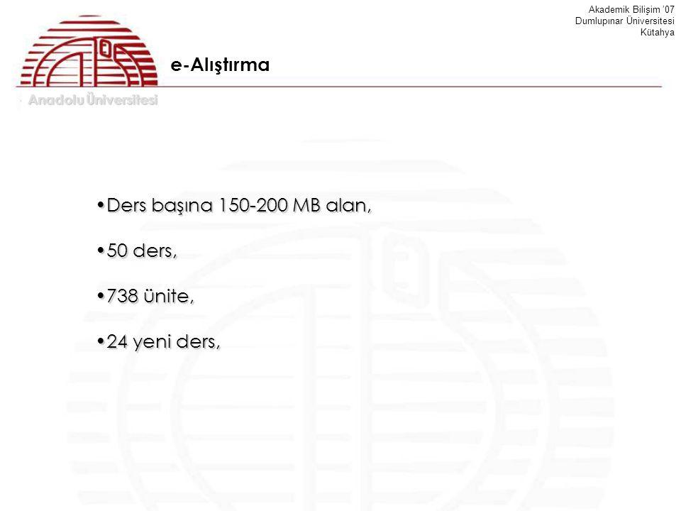 Anadolu Üniversitesi Akademik Bilişim '07 Dumlupınar Üniversitesi Kütahya Ders başına 150-200 MB alan,Ders başına 150-200 MB alan, 50 ders,50 ders, 73