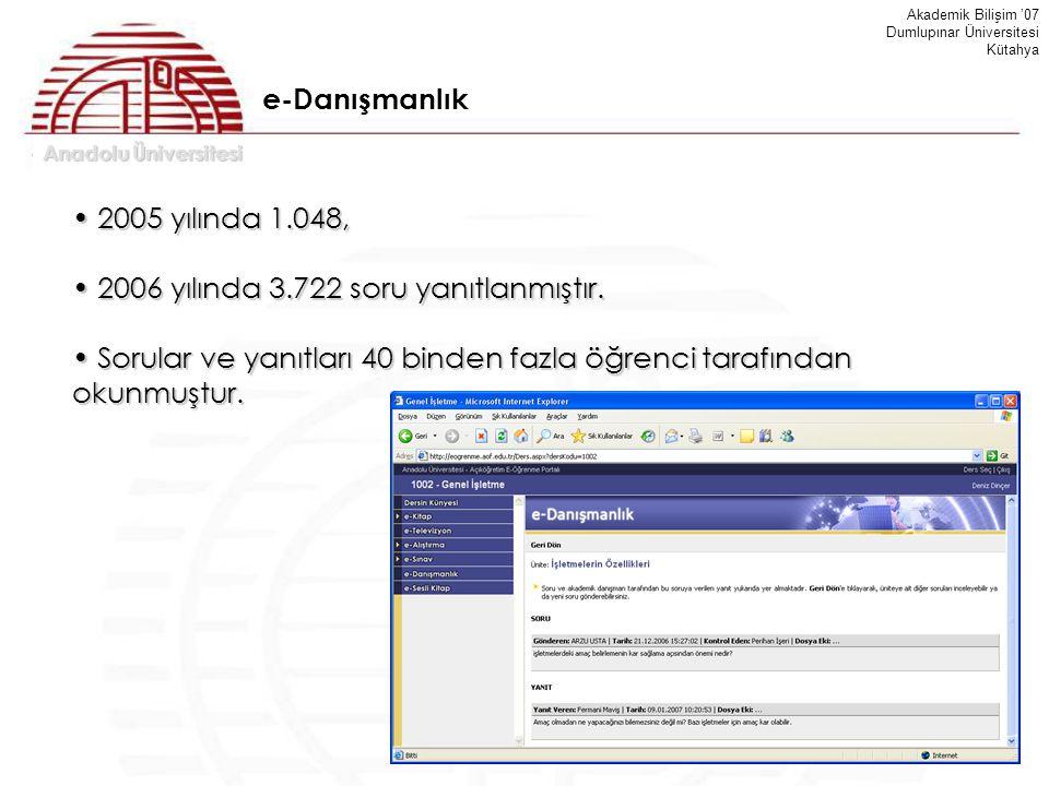 Anadolu Üniversitesi Akademik Bilişim '07 Dumlupınar Üniversitesi Kütahya 2005 yılında 1.048, 2005 yılında 1.048, 2006 yılında 3.722 soru yanıtlanmışt