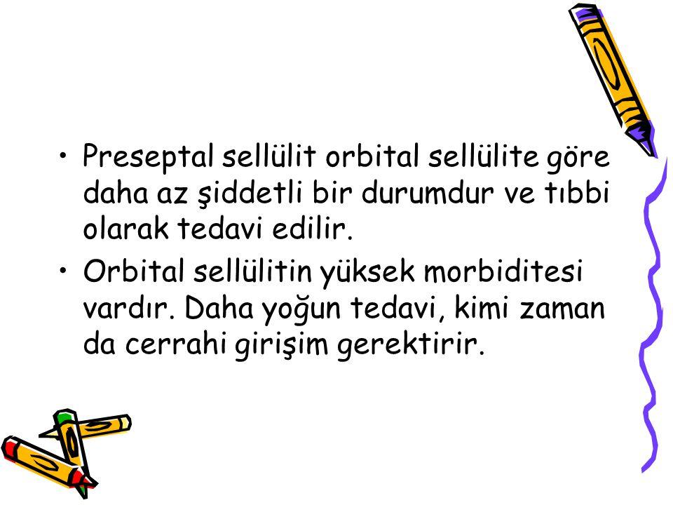 Preseptal sellülit orbital sellülite göre daha az şiddetli bir durumdur ve tıbbi olarak tedavi edilir. Orbital sellülitin yüksek morbiditesi vardır. D