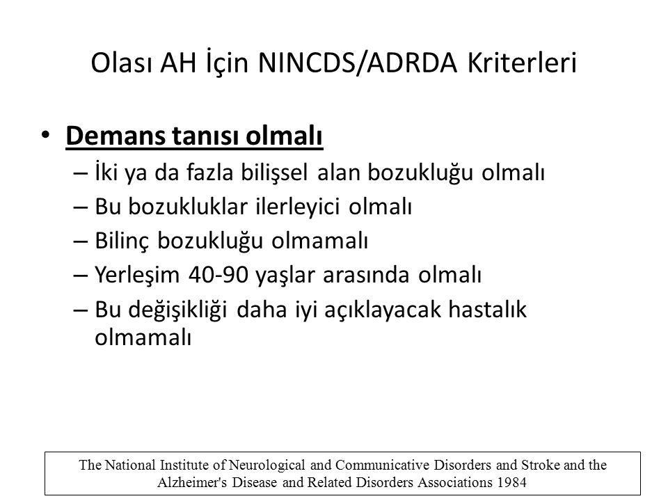 Olası AH İçin NINCDS/ADRDA Kriterleri Demans tanısı olmalı – İki ya da fazla bilişsel alan bozukluğu olmalı – Bu bozukluklar ilerleyici olmalı – Bilin