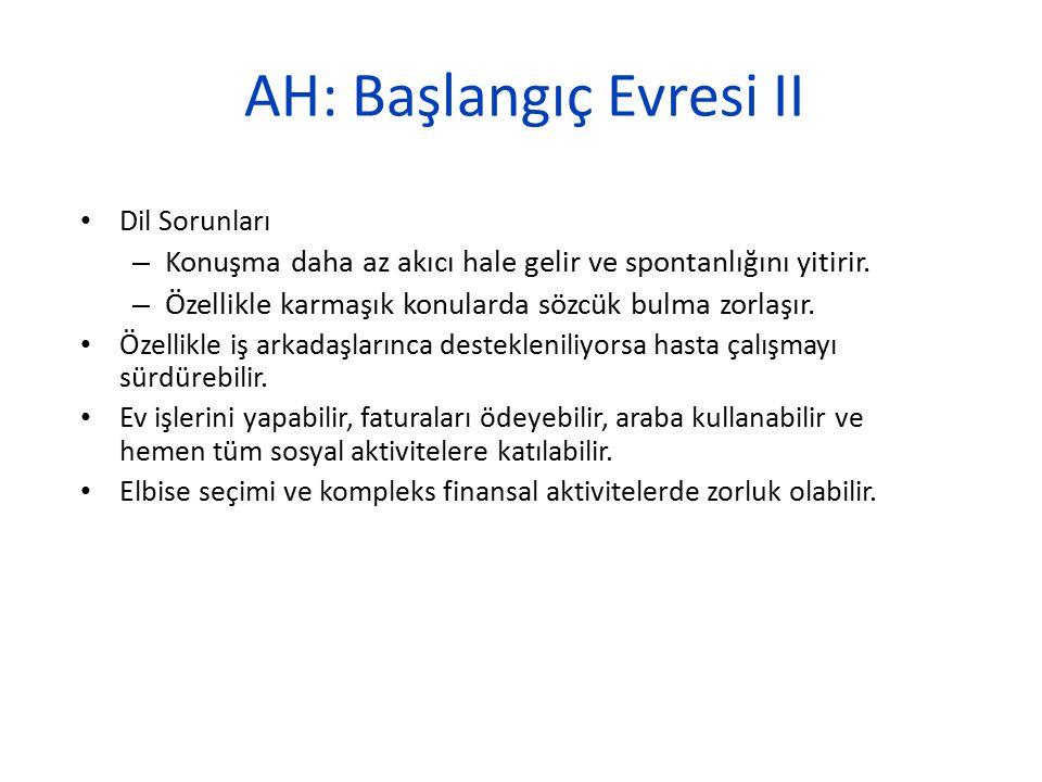 AH: Başlangıç Evresi II Dil Sorunları – Konuşma daha az akıcı hale gelir ve spontanlığını yitirir. – Özellikle karmaşık konularda sözcük bulma zorlaşı