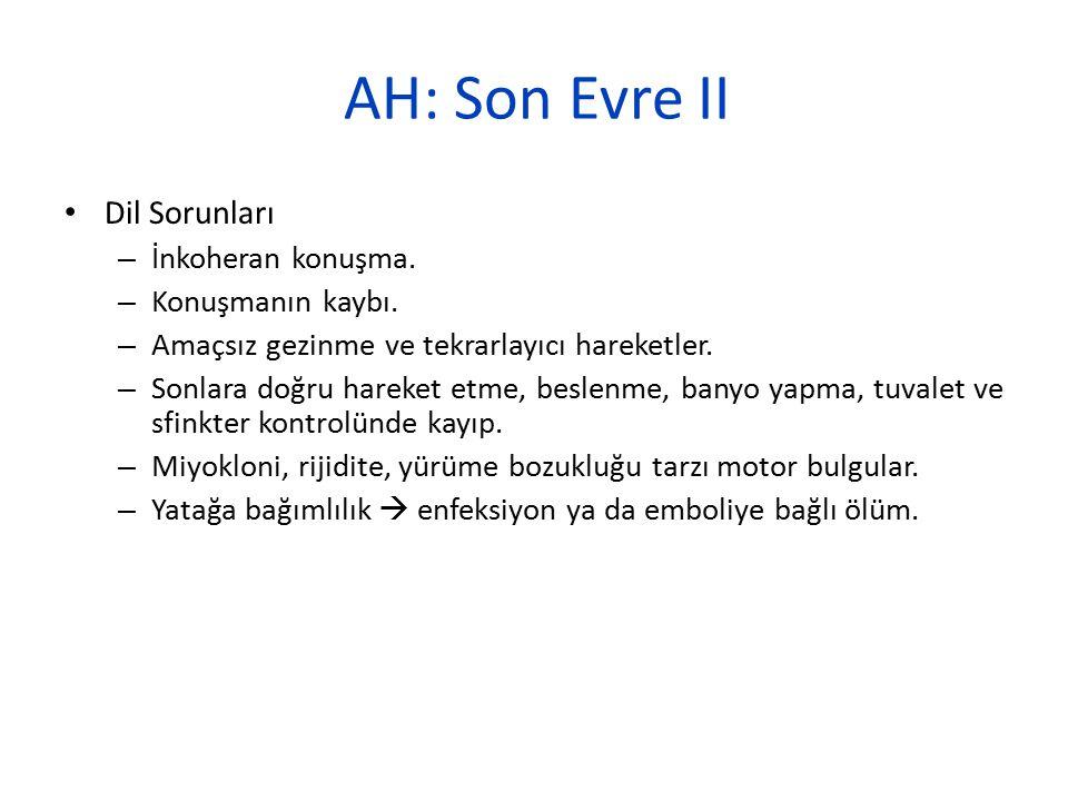 AH: Son Evre II Dil Sorunları – İnkoheran konuşma. – Konuşmanın kaybı. – Amaçsız gezinme ve tekrarlayıcı hareketler. – Sonlara doğru hareket etme, bes