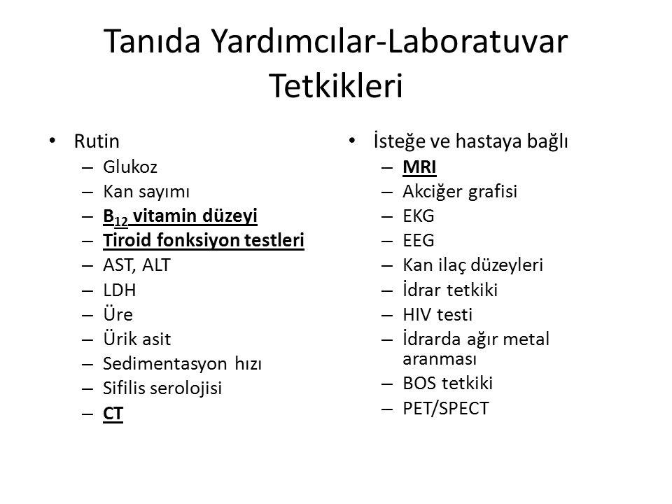 Tanıda Yardımcılar-Laboratuvar Tetkikleri Rutin – Glukoz – Kan sayımı – B 12 vitamin düzeyi – Tiroid fonksiyon testleri – AST, ALT – LDH – Üre – Ürik