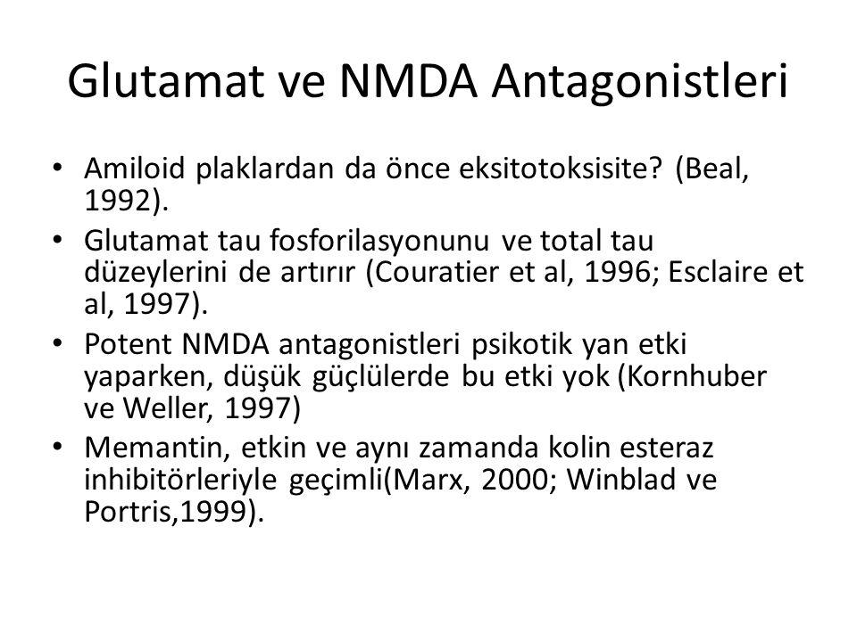 Glutamat ve NMDA Antagonistleri Amiloid plaklardan da önce eksitotoksisite? (Beal, 1992). Glutamat tau fosforilasyonunu ve total tau düzeylerini de ar