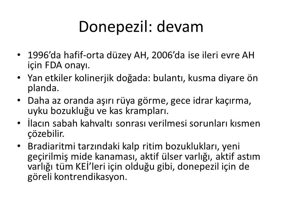 Donepezil: devam 1996'da hafif-orta düzey AH, 2006'da ise ileri evre AH için FDA onayı. Yan etkiler kolinerjik doğada: bulantı, kusma diyare ön planda