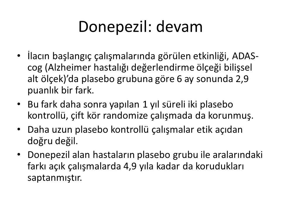 Donepezil: devam İlacın başlangıç çalışmalarında görülen etkinliği, ADAS- cog (Alzheimer hastalığı değerlendirme ölçeği bilişsel alt ölçek)'da plasebo