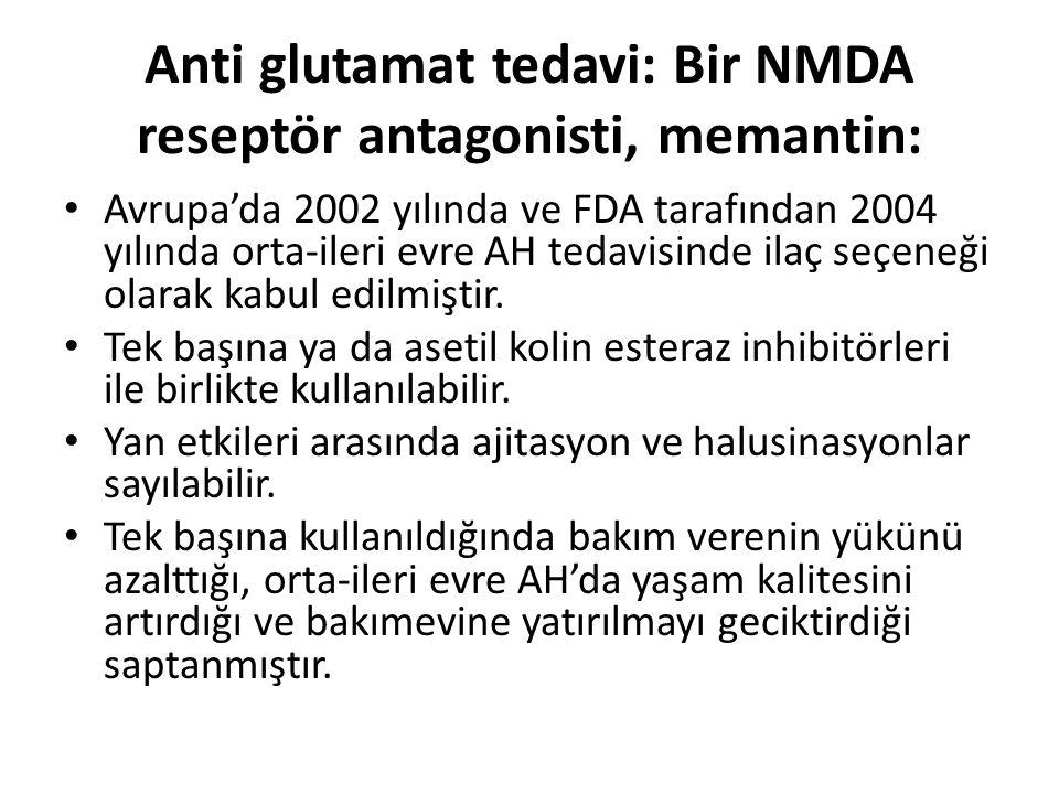 Anti glutamat tedavi: Bir NMDA reseptör antagonisti, memantin: Avrupa'da 2002 yılında ve FDA tarafından 2004 yılında orta-ileri evre AH tedavisinde il