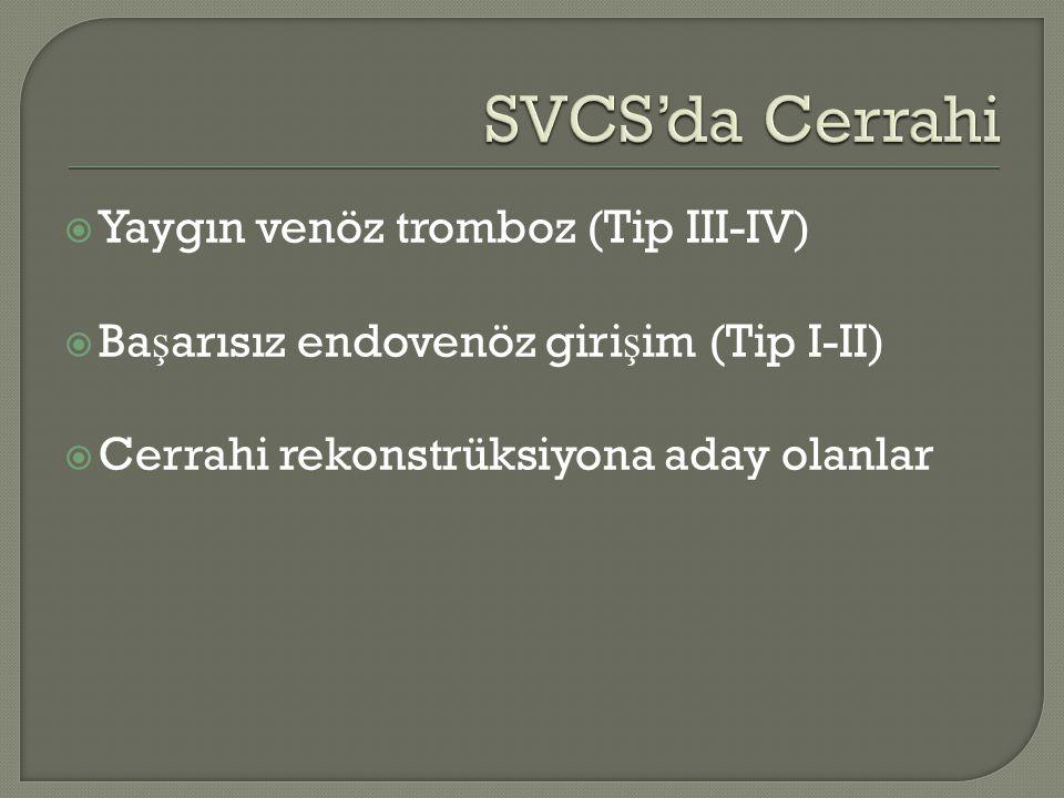  Yaygın venöz tromboz (Tip III-IV)  Ba ş arısız endovenöz giri ş im (Tip I-II)  Cerrahi rekonstrüksiyona aday olanlar