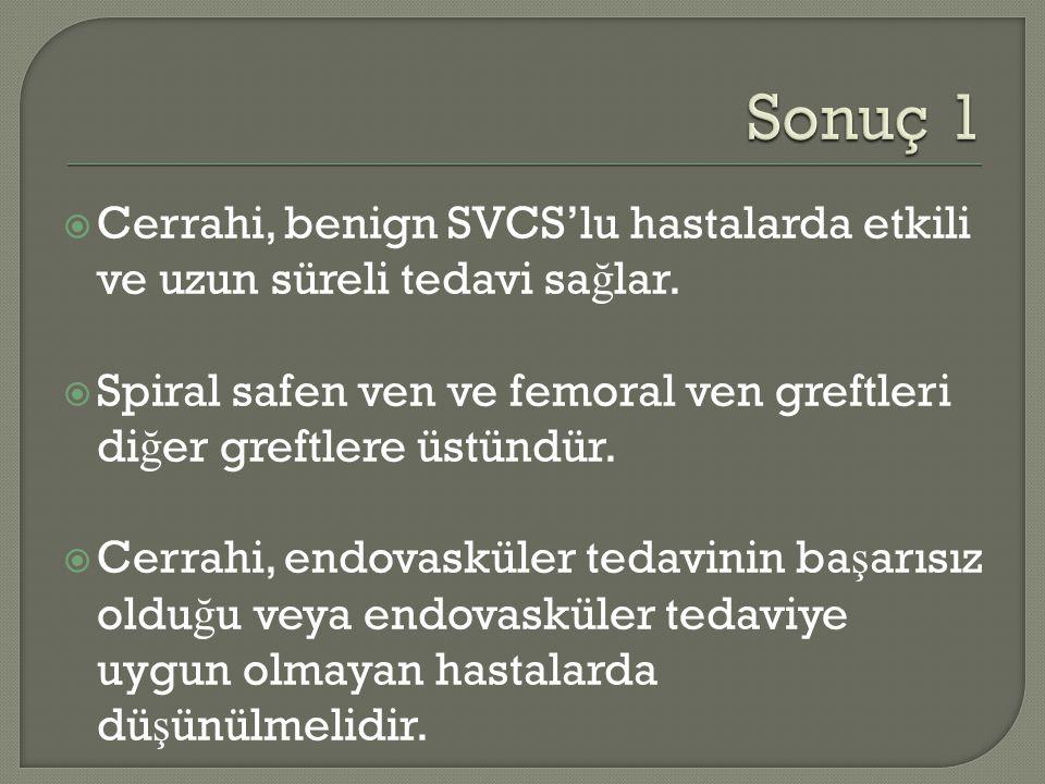  Cerrahi, benign SVCS'lu hastalarda etkili ve uzun süreli tedavi sa ğ lar.  Spiral safen ven ve femoral ven greftleri di ğ er greftlere üstündür. 