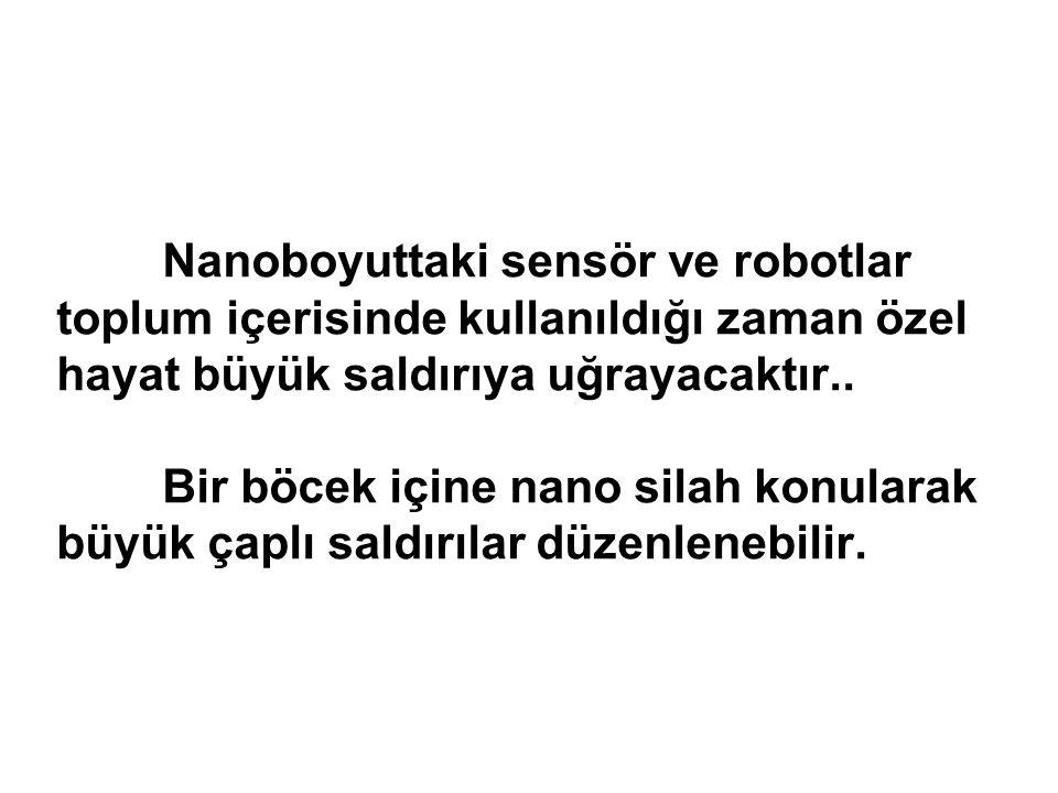 Nanoboyuttaki sensör ve robotlar toplum içerisinde kullanıldığı zaman özel hayat büyük saldırıya uğrayacaktır..