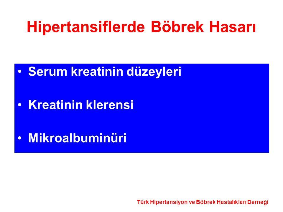 Türk Hipertansiyon ve Böbrek Hastalıkları Derneği Hipertansiflerde Böbrek Hasarı Serum kreatinin düzeyleri Kreatinin klerensi Mikroalbuminüri