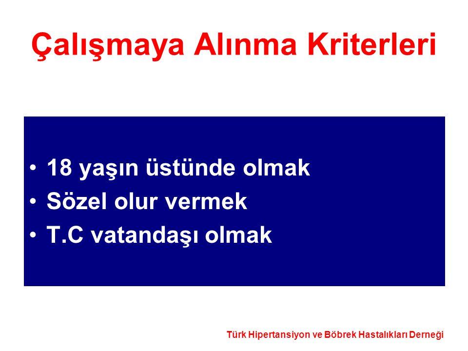 Türk Hipertansiyon ve Böbrek Hastalıkları Derneği Çalışma Dışı Bırakılma Kriterleri Anketin yapıldığı hanede ziyaretçi olarak bulunmak Anket sorularını yanıtlayamayacak düzeyde kognitif bozukluğu olmak Hamile olmak