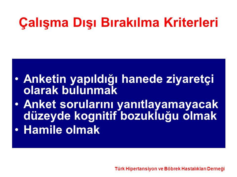 Türk Hipertansiyon ve Böbrek Hastalıkları Derneği Çalışma Dışı Bırakılma Kriterleri Anketin yapıldığı hanede ziyaretçi olarak bulunmak Anket soruların