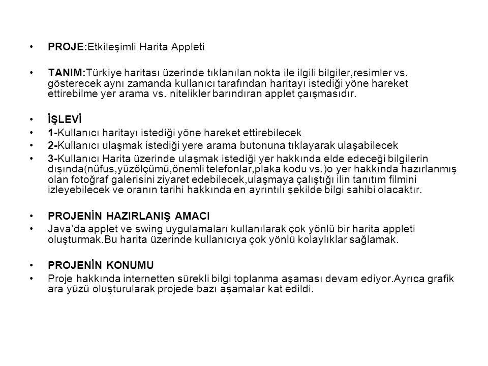 PROJE:Etkileşimli Harita Appleti TANIM:Türkiye haritası üzerinde tıklanılan nokta ile ilgili bilgiler,resimler vs.