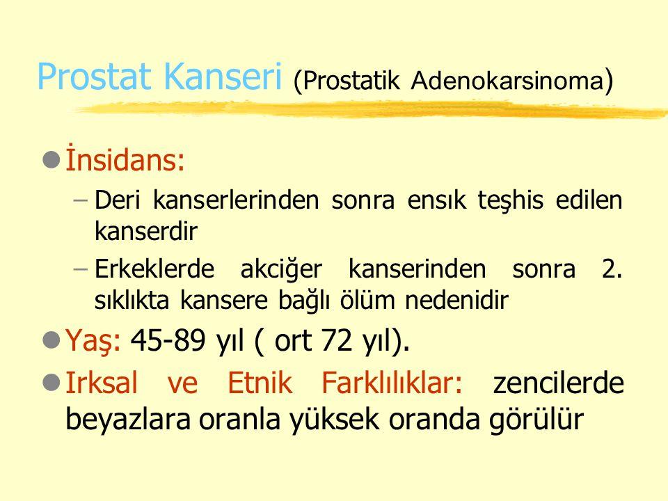 Prostat Kanseri (Prostatik Adenokarsinoma ) lİnsidans: –Deri kanserlerinden sonra ensık teşhis edilen kanserdir –Erkeklerde akciğer kanserinden sonra
