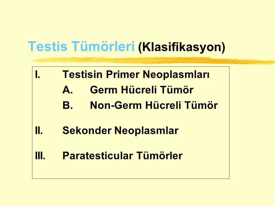 Testis Tümörleri (Klasifikasyon) I.Testisin Primer Neoplasmları A.Germ Hücreli Tümör B.Non-Germ Hücreli Tümör II.Sekonder Neoplasmlar III.Paratesticul