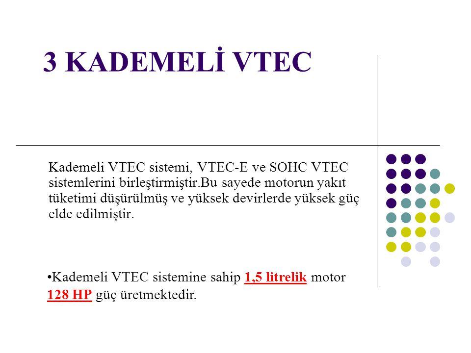 3 KADEMELİ VTEC Kademeli VTEC sistemi, VTEC-E ve SOHC VTEC sistemlerini birleştirmiştir.Bu sayede motorun yakıt tüketimi düşürülmüş ve yüksek devirler