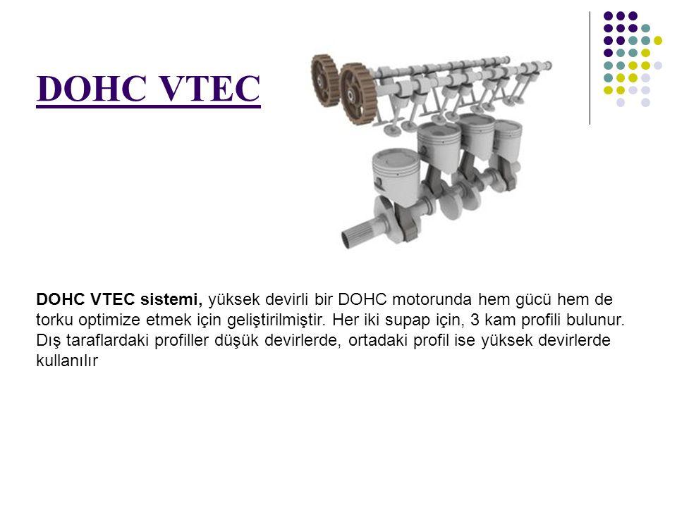 DOHC VTEC DOHC VTEC sistemi, yüksek devirli bir DOHC motorunda hem gücü hem de torku optimize etmek için geliştirilmiştir. Her iki supap için, 3 kam p