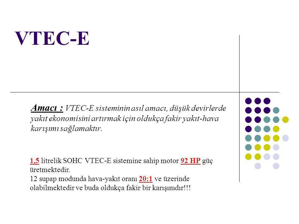 VTEC-E Amacı : VTEC-E sisteminin asıl amacı, düşük devirlerde yakıt ekonomisini artırmak için oldukça fakir yakıt-hava karışımı sağlamaktır. 1,5 litre