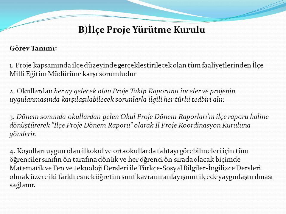 B)İlçe Proje Yürütme Kurulu Görev Tanımı: 1. Proje kapsamında ilçe düzeyinde gerçekleştirilecek olan tüm faaliyetlerinden İlçe Milli Eğitim Müdürüne k
