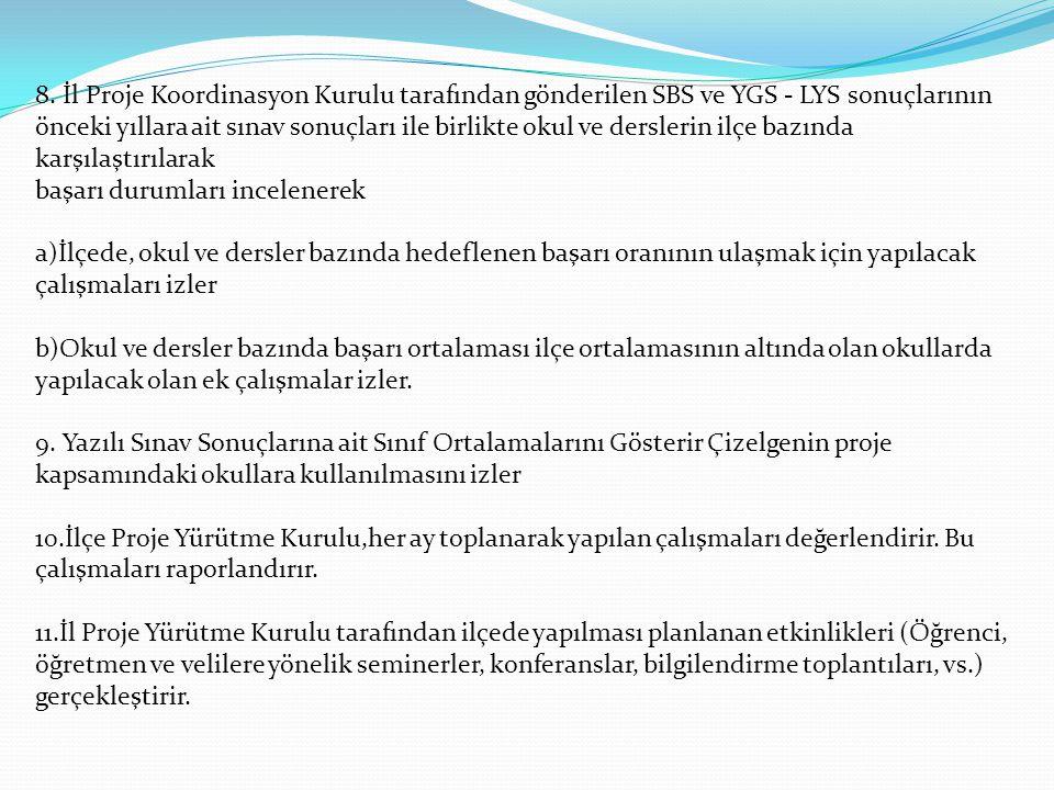 8. İl Proje Koordinasyon Kurulu tarafından gönderilen SBS ve YGS - LYS sonuçlarının önceki yıllara ait sınav sonuçları ile birlikte okul ve derslerin