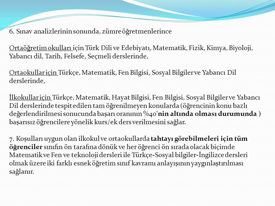 6. Sınav analizlerinin sonunda, zümre öğretmenlerince Ortaöğretim okulları için Türk Dili ve Edebiyatı, Matematik, Fizik, Kimya, Biyoloji, Yabancı dil