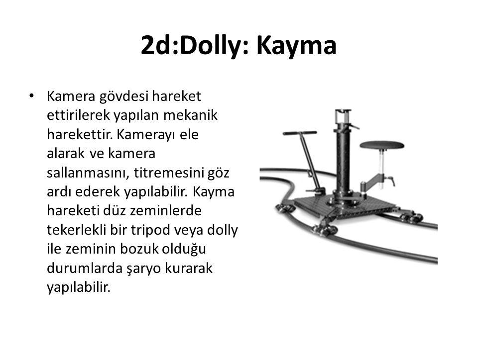 2d:Dolly: Kayma Kamera gövdesi hareket ettirilerek yapılan mekanik harekettir.
