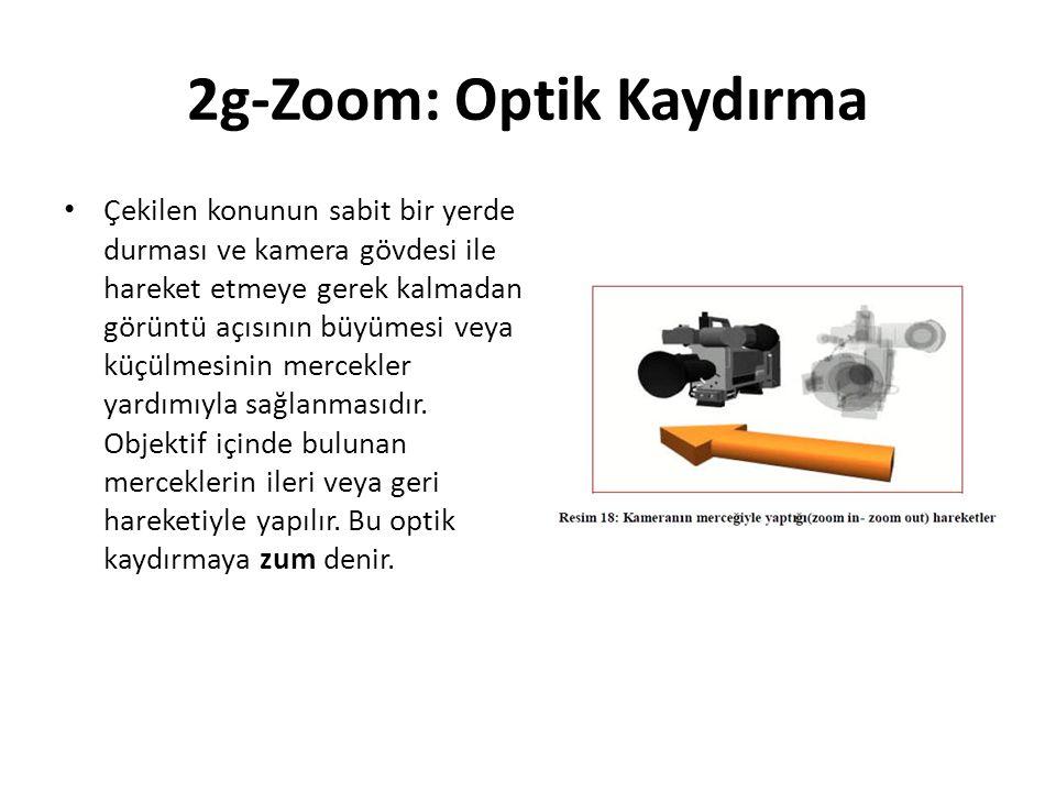 2g-Zoom: Optik Kaydırma Çekilen konunun sabit bir yerde durması ve kamera gövdesi ile hareket etmeye gerek kalmadan görüntü açısının büyümesi veya küçülmesinin mercekler yardımıyla sağlanmasıdır.
