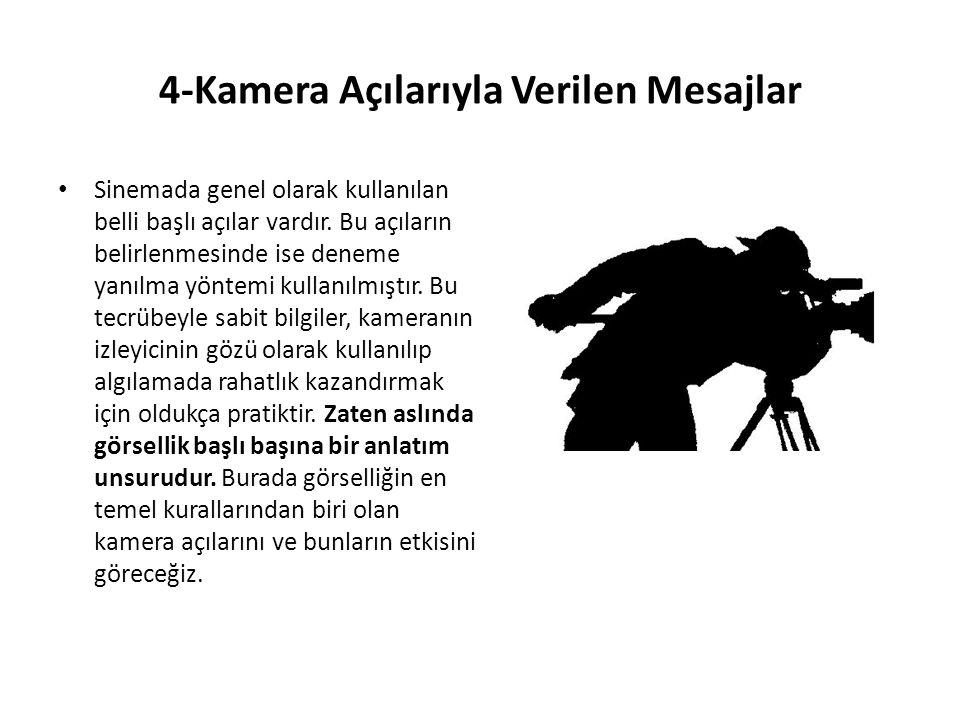4-Kamera Açılarıyla Verilen Mesajlar Sinemada genel olarak kullanılan belli başlı açılar vardır.