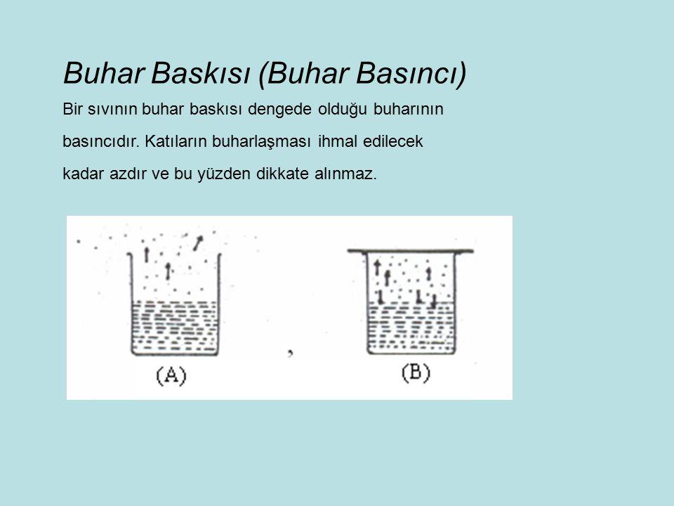 Buhar Baskısı (Buhar Basıncı) Bir sıvının buhar baskısı dengede olduğu buharının basıncıdır.
