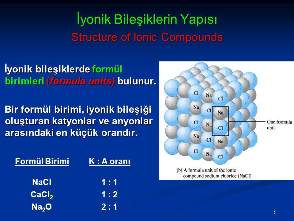 5 İyonik Bileşiklerin Yapısı Structure of Ionic Compounds İyonik bileşiklerde formül birimleri (formula units) bulunur. Bir formül birimi, iyonik bile