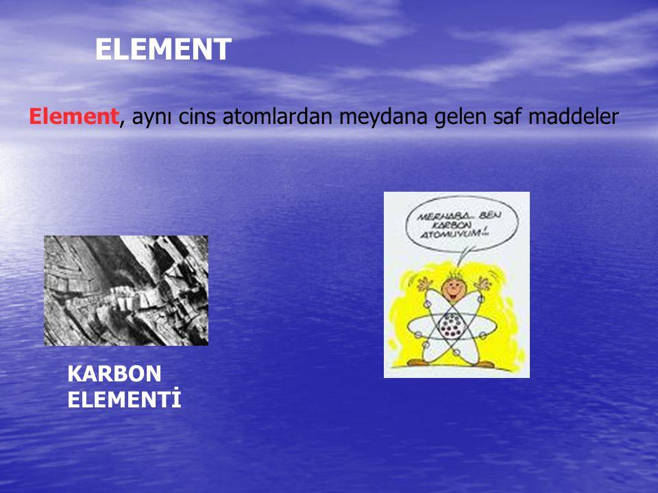 Element, aynı cins atomlardan meydana gelen saf maddeler ELEMENT KARBON ELEMENTİ