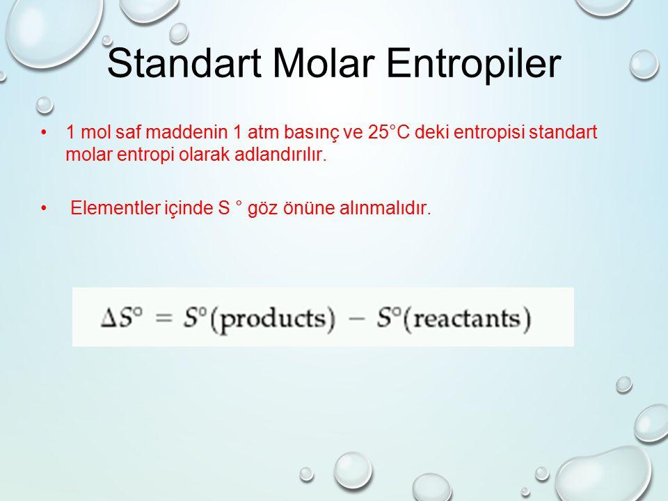 Standart Molar Entropiler 1 mol saf maddenin 1 atm basınç ve 25°C deki entropisi standart molar entropi olarak adlandırılır.