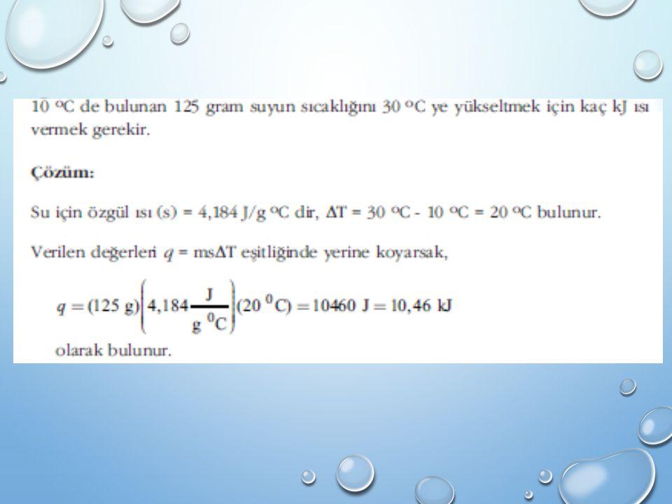 Örnek 2A + 3B → 4C + 3D DH=+a kilokalori A + 3E → 2C + 3D DH= – b kilokalori olarak verildiğine göre; B+D → 2E tepkimesinin ΔH değeri a ve b cinsinden nedir.