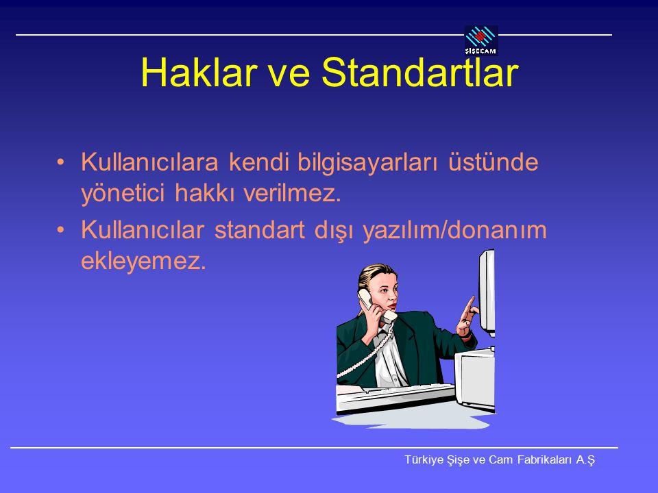 Türkiye Şişe ve Cam Fabrikaları A.Ş İnternet'e Bağlantı Her kullanıcıya teknik gerekçeler dışında kısıtsız İnternet bağlantısı verilir.