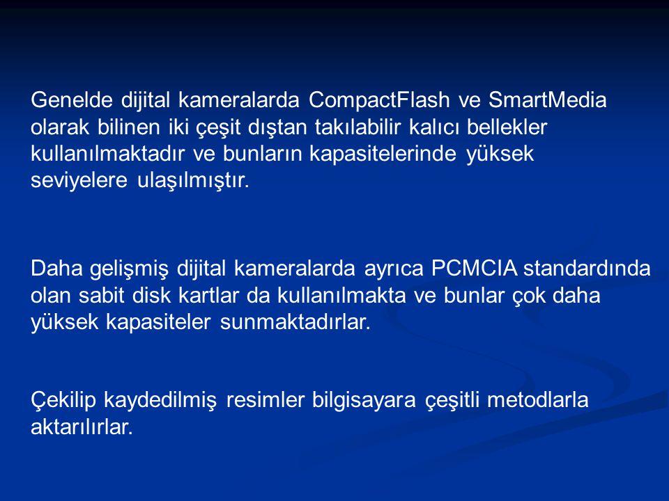 Genelde dijital kameralarda CompactFlash ve SmartMedia olarak bilinen iki çeşit dıştan takılabilir kalıcı bellekler kullanılmaktadır ve bunların kapasitelerinde yüksek seviyelere ulaşılmıştır.