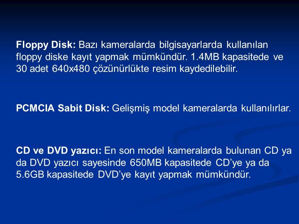 Floppy Disk: Bazı kameralarda bilgisayarlarda kullanılan floppy diske kayıt yapmak mümkündür.