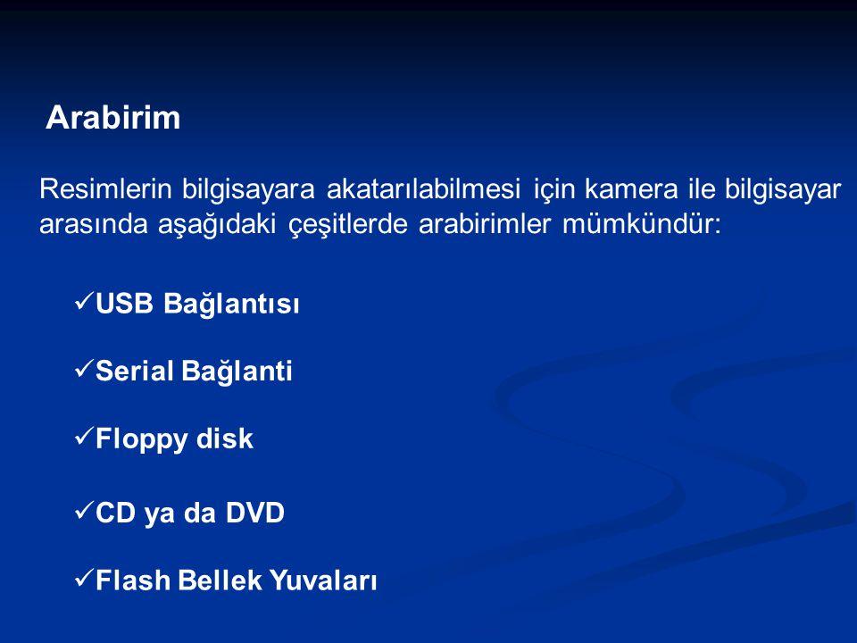Arabirim Resimlerin bilgisayara akatarılabilmesi için kamera ile bilgisayar arasında aşağıdaki çeşitlerde arabirimler mümkündür: USB Bağlantısı Serial Bağlanti Floppy disk CD ya da DVD Flash Bellek Yuvaları