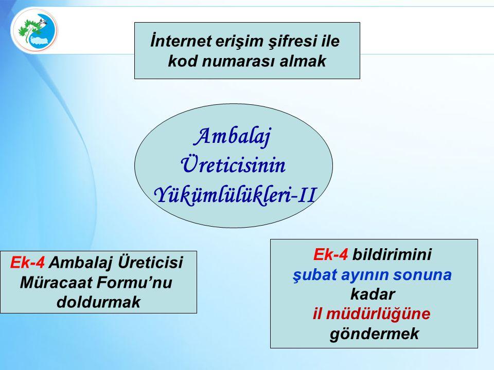 Ambalaj Üreticisinin Yükümlülükleri-II İnternet erişim şifresi ile kod numarası almak Ek-4 Ambalaj Üreticisi Müracaat Formu'nu doldurmak Ek-4 bildirim